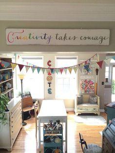 wall art creativity takes courage hand by barnowlprimitives Barn Owl Primitives www.barnowlprimitives.com