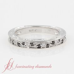 Vintage Looking Pave  Women Wedding Rings with Black Diamond in 14K White Gold exclusively styled by Fascinating Diamonds