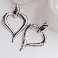 Sterling Silver Heart Earrings, Silver Heart Earrings, Vintage Earrings, Drop Heart Earring, Pierced Heart Earrings, Sweetheart Earrings,
