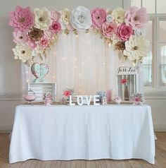 62 New Ideas For Pretty In Pink Bridal Shower Decor Paper Flowers Pink Backdrop, Baby Shower Backdrop, Paper Flower Backdrop, Paper Flowers, Backdrop Ideas, Bridal Shower Decorations, Bridal Shower Favors, Wedding Decorations, Bridal Shower Flowers