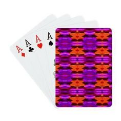 "Game Night - ""Tapestry Of Purple And Orange"" Playing Cards"