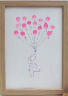 Make thumbprint artwork. Gives me an idea to get each member of the family to put thumbprint for baby's art. meaningful keepsake