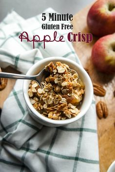 Speedy Saucy Apple Crisp / This apple crisp can be put together in 5 minutes, then baked for 20 minutes for a healthy, delicious fall dessert that's healthy enough for breakfast!