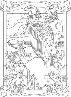 Welcome to Dover Publications From: Creative Haven Art Nouveau Animal Designs Coloring Book Bird Coloring Pages, Printable Coloring Pages, Adult Coloring Pages, Coloring Sheets, Coloring Books, Animal Design, Embroidery Patterns, Illustration, Cross Stitch