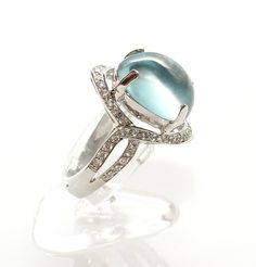 Silver ring with aquamarine and white sapphires. White gold finish. Handmade Продавец: компания «Jewellry» 193,00 $