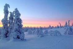 Auringonnousu Levillä. Sunrise in Levi, Finnish Lapland