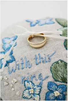 embroidered ring cushion