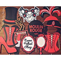 COME WHAT MAY - LOVE THIS Spectacular Moulin Rouge themed photo booth props that…