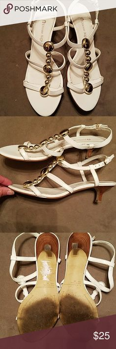 Precious white sandals! Low heel, sexy & sophisticated!! Great with shorts or a dress! Etienne Aigner Shoes Sandals
