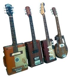 After having two vintage Gibson guitars stolen after a show Jeff Conley decided he would never buy another guitar. Instead he started to build acoustic and electric guitars out of old vintage suitcases! He has even built electric foot drums from the suitcases as well!