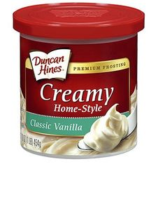 Duncan Hines Creamy Home-Style Frosting (Classic Vanilla)  - reported as vegan.