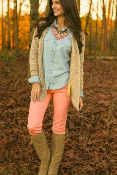 Trouble Maker Cardigan-Oatmeal and pastel pink skinny jeans