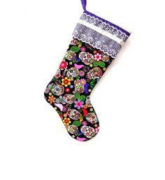 sugar skull christmas stockings   Sugar Skull Christmas Stocking, Day of the Dead, Christmas Stocking ...