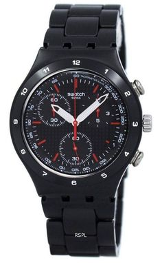 Large in-stock selection like Swatch Irony Black Coated Chorongraph Quartz Unisex Watch has Black Aluminium Case, Black Aluminium Bracelet, Quartz Movement, Mineral Crystal, Black Dial