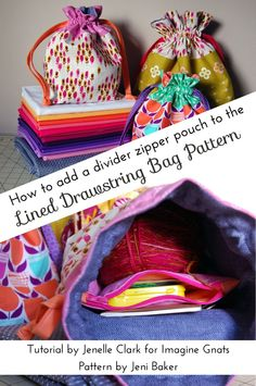 How to add a divider zipper pouch to the Lined Drawstring Bag Pattern | Echinops and Aster