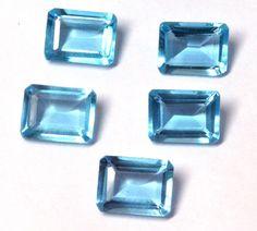 Best Price Blue Topaz Hydro 12x16mm Octagon Cut 5Pc Wholesale Lot Loose Gemstone #CHOUHANGEMS