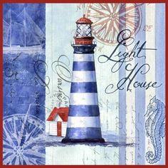 Medium Decoupage Vintage, Decoupage Paper, Wood Craft Patterns, Lighthouse Art, Sea Art, Nautical Theme, Fabric Painting, Vintage Images, Illustrations