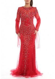Rotes Sexy Rückenausschnitt Abendkleid Nora Langarm