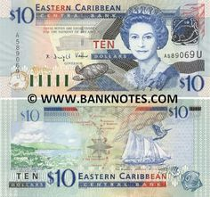 Anguilla 10 Dollars (2003)  Obverse: Queen Elisabeth The Second; ECCB building; turtle; fish; green-throated carib; Reverse: Admiralty Bay in Saint Vincent and The Grenadines; Map of the Caribbean; The Warspite sailing ship, Anguilla; Brown Pelican (Pelecanus occidentalis); fish; Watermark: portrait of Queen Elisabeth II.
