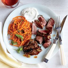 Coriander-Thyme Lamb Chops with Yogurt Sauce - Quick and Easy Beef and Lamb Recipes for Dinner Tonight - Cooking Light Lamb Recipes, Entree Recipes, Sauce Recipes, Meat Recipes, Recipies, Lamb Ribs, Lamb Chops, Pork Chops, Grilled Leg Of Lamb