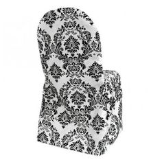 White Banquet Chair Covers W Black Damask Flocking