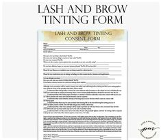 Lash and Brow Tinting Form, Tinting Consent Form, Esthetician Forms, Cosmetologist Forms
