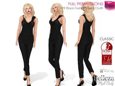 390b6d6f5f2aa0 Second Life Marketplace - MI Full Perm Black Fashion Pants Outfit All In  One…