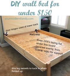 DIY Murphy bed – DIY wall bed for $150 built by my husband and my Dad… with build in shelving … win a $100 gift card!