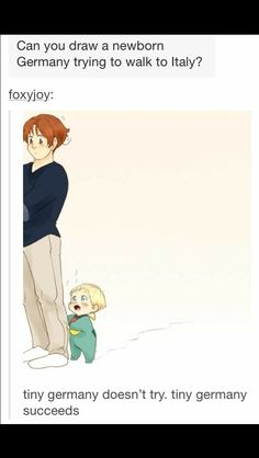 Hetalia ~ Baby Germany and Italy -- Germany is so cute in this picture! Hetalia Anime, Hetalia Funny, Hetalia Fanart, Otp, Hetalia Germany, Animes On, Hetalia Axis Powers, Kaichou Wa Maid Sama, You Draw