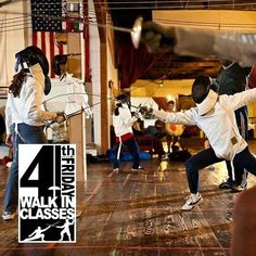 Don't forget! Today is Fourth Friday!   Ever wanted to try out fencing? Maybe just one time? Not sure if you want to do a whole month?   Try the WALK-IN FENCING CLASS PROGRAM! Anybody (ages 7) can sign up for one of the classes this Friday. Pre-registration is not required! All equipment is provided.   Bring your friends! Bring your spouse! Bring your girlfriend/boyfriend! Everyone played swords when they were kids!   Whether you pretended you were a Robin Hood Luke Skywalker or Jack…