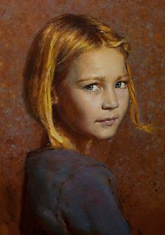 """Essie at Eight"" - Seth Haverkamp (b. 1980), oil on panel {figurative art blonde female girl face portrait cropped painting #loveart} sethhaverkamp.com"