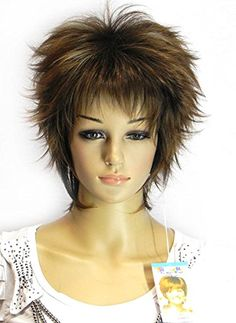 Diy Women's Short Fluffy Straight Mixed Brown Oblique Bangs Synthetic Fiber Cosplay Party Heat-resist Hair Wig ...It looks just like this!