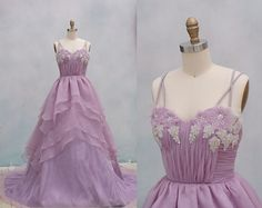 Light Purple Organza Wedding Dress Ball Gown Dress Backless Prom Dress with beading on Etsy, $199.00