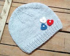 Baby Heart HatsGrey Baby HatsBaby Shower by knitaccessoriesfadik