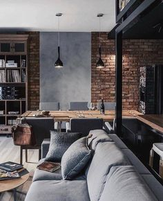 Most of the time, modern design uses natural materials to sculpt out the basic structure of a room. Here are a few materials along with specific application tips for Modern interior design. Urban Interior Design, Industrial Interior Design, Interior Design Living Room, Urban Design, Industrial Living, Interior Designing, Urban Industrial, Kitchen Interior, Modern Design
