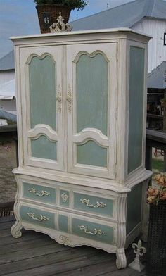 vintage style wardrobe, I would love to add a gold, silver or dark green leave stencil pattern on the wardrobe doors