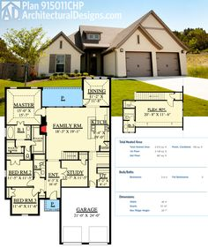 Architectural Designs House Plan 915011CHP gives you over 2,500 square feet of living including a flex room over the garage. Ready when you are. Where do YOU want to build?