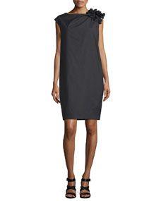 Brunello Cucinelli Gathered-Shoulder Shift Dress, Black