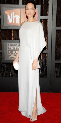 Angelina Jolie in a white gown