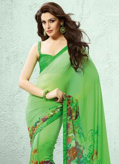 Dazzling Green Printed#Georgette #Saree
