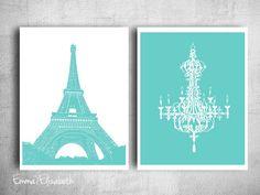 Tiffany French Chandler Art Print Paris eiffel tower Wall hanging Girls bedroom art Modern Teen decor Aqua blue green poster 8x10 Print