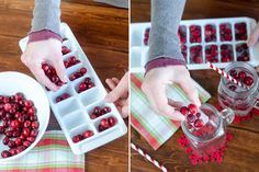 Make holiday ice with cranberries frozen in water.