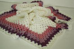 Crochet Baby Blanket / Afghan, White Purple Granny Square, Gift. $35.00, via Etsy.