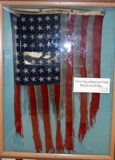 1st flag ashore on Utah Beach on D-Day