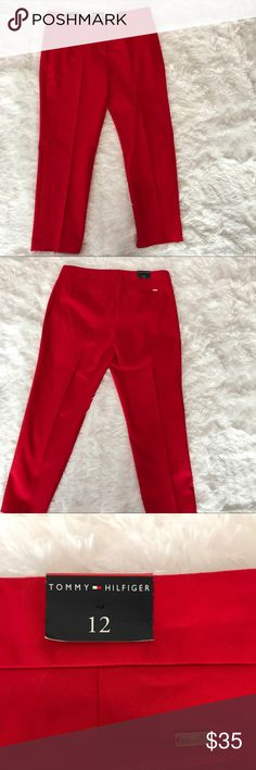 "Red Tommy Hilfiger Women's Pants Tommy Hilfiger red women's ankle ""A' La Cheville"", pants.  The pants are made of 98% cotton & 2% Lycra (Elastine). Tommy Hilfiger Pants Ankle & Cropped"
