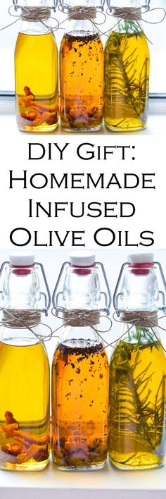 DIY Holiday Gift Infused Olive Oil. Easy homemade gift of infused olive oils. Easy recipes for garlic oil, spicy oil, and rosemary oil. #christmasgifts #homemadegifts #diygifts #homemaking #oliveoil #healthyrecipes #LMrecipes