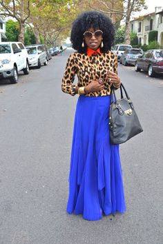 Leopard Print Button Shirt + Royal Blue Mesh and Chiffon Maxi Skirt