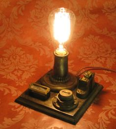 Edison Conrow Desk Lamp Vintage Antique Light Victorian Industrial Lamp Home Decor By Victorian Machines. $150.00, via Etsy.