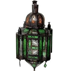 Pretty.....Emerald Stained Glass 1-light Bronze Chandelier (Morocco) (Overstock.com)