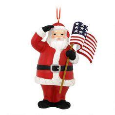 Patriotic Santa With US Flag Ornament $6.99